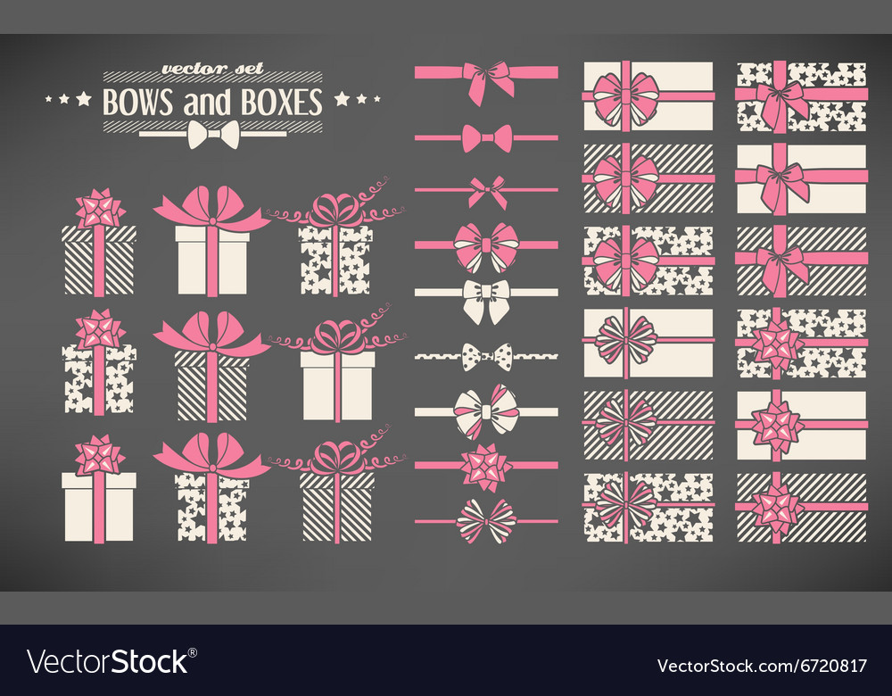 Set of bows and gift boxes vector