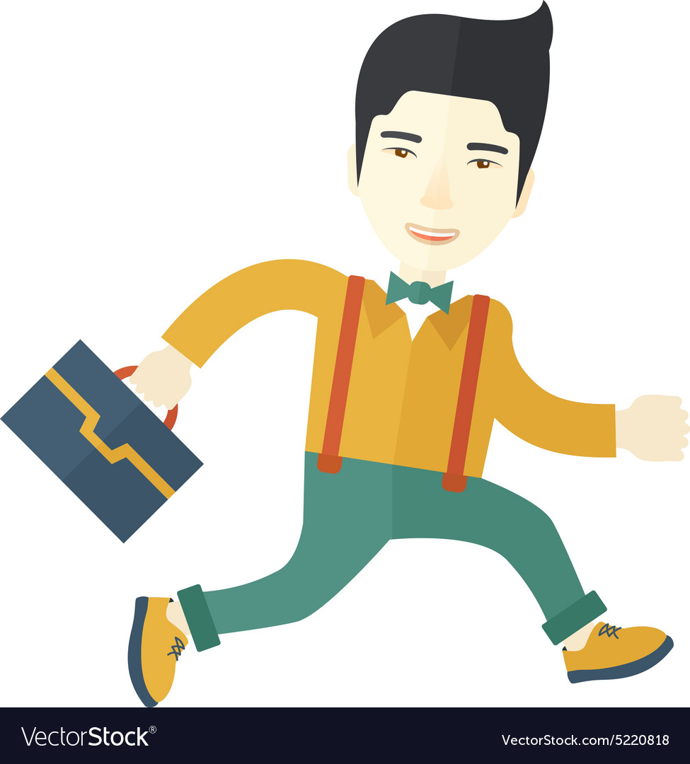 Chinese buisnessman walking with his briefcase vector