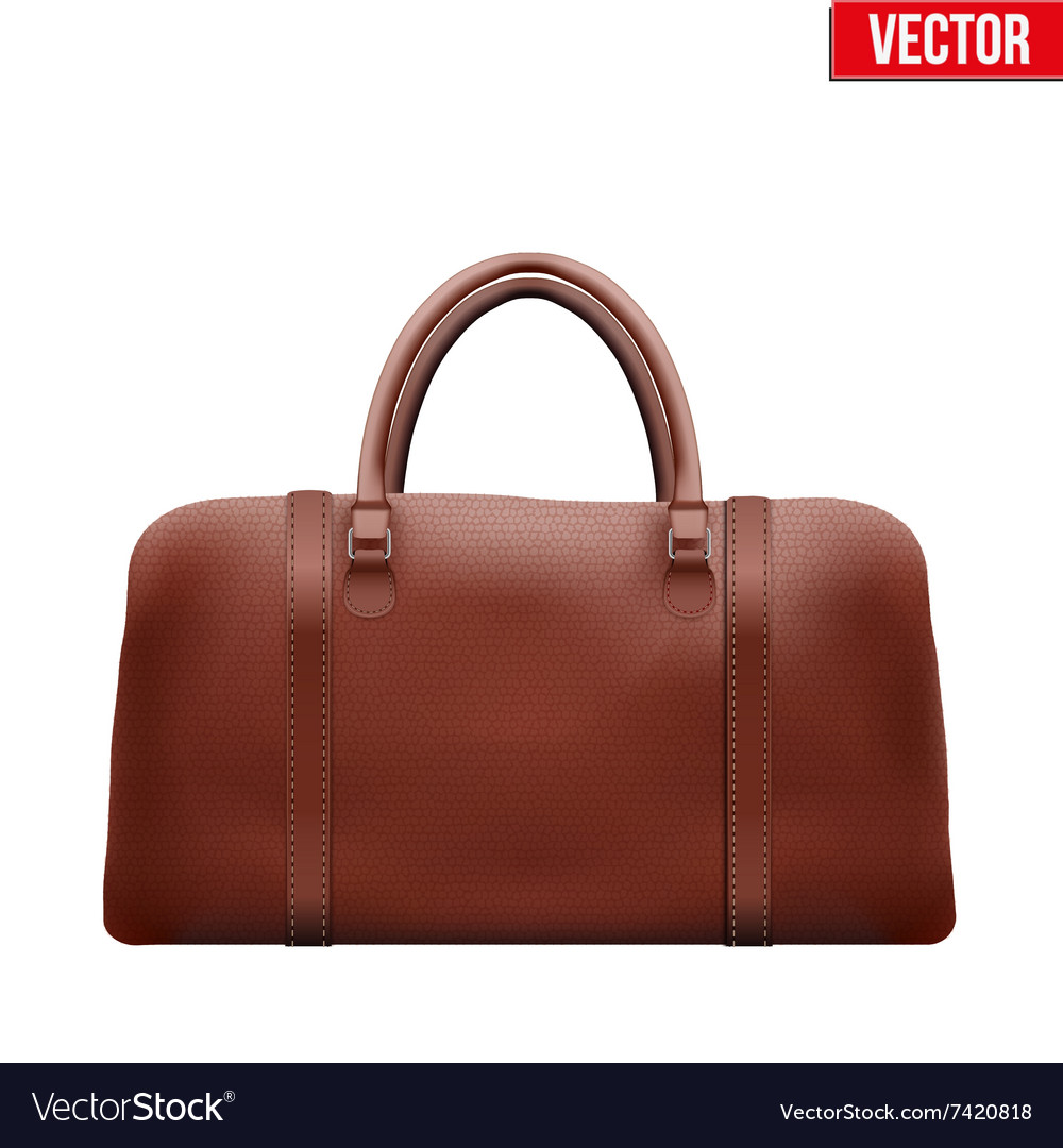 Classic brown leather bag vector