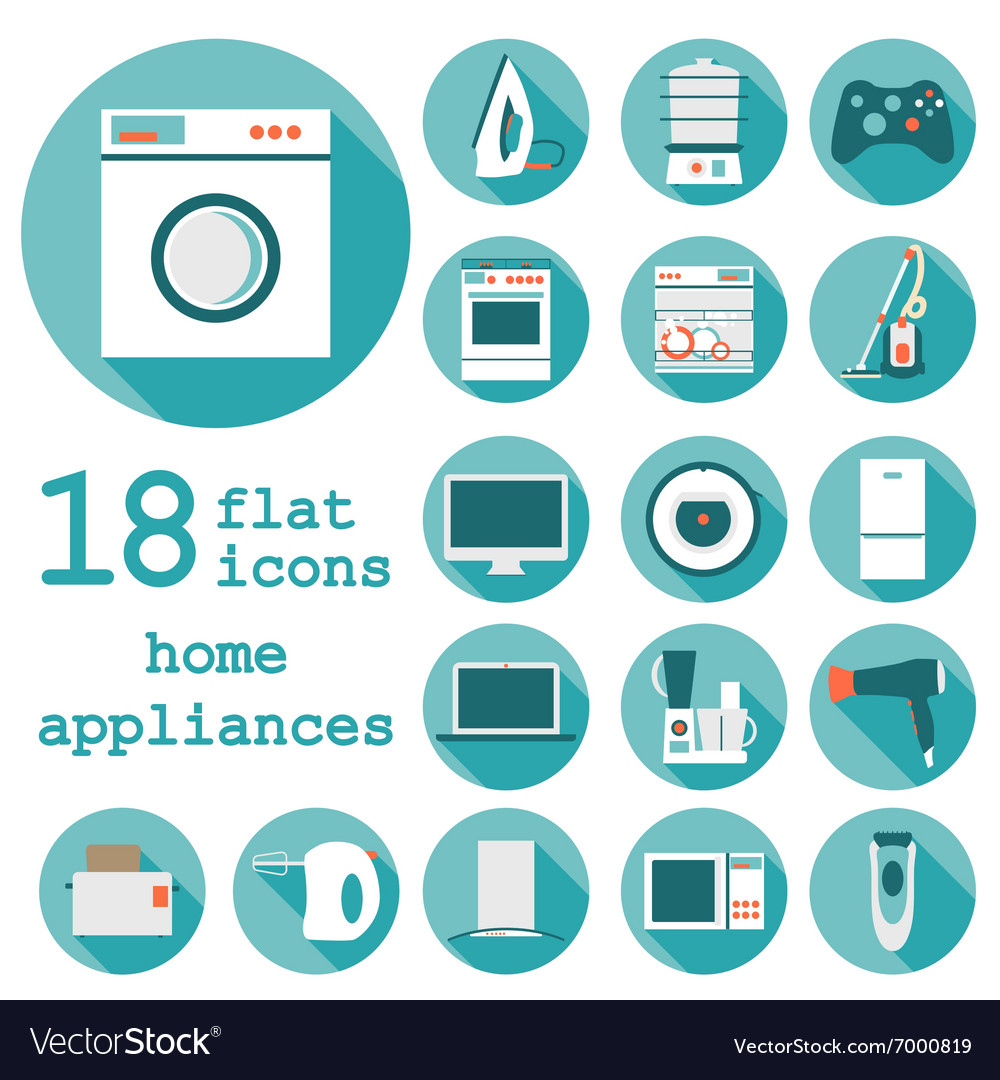 Set flat design icons of home appliances with long vector
