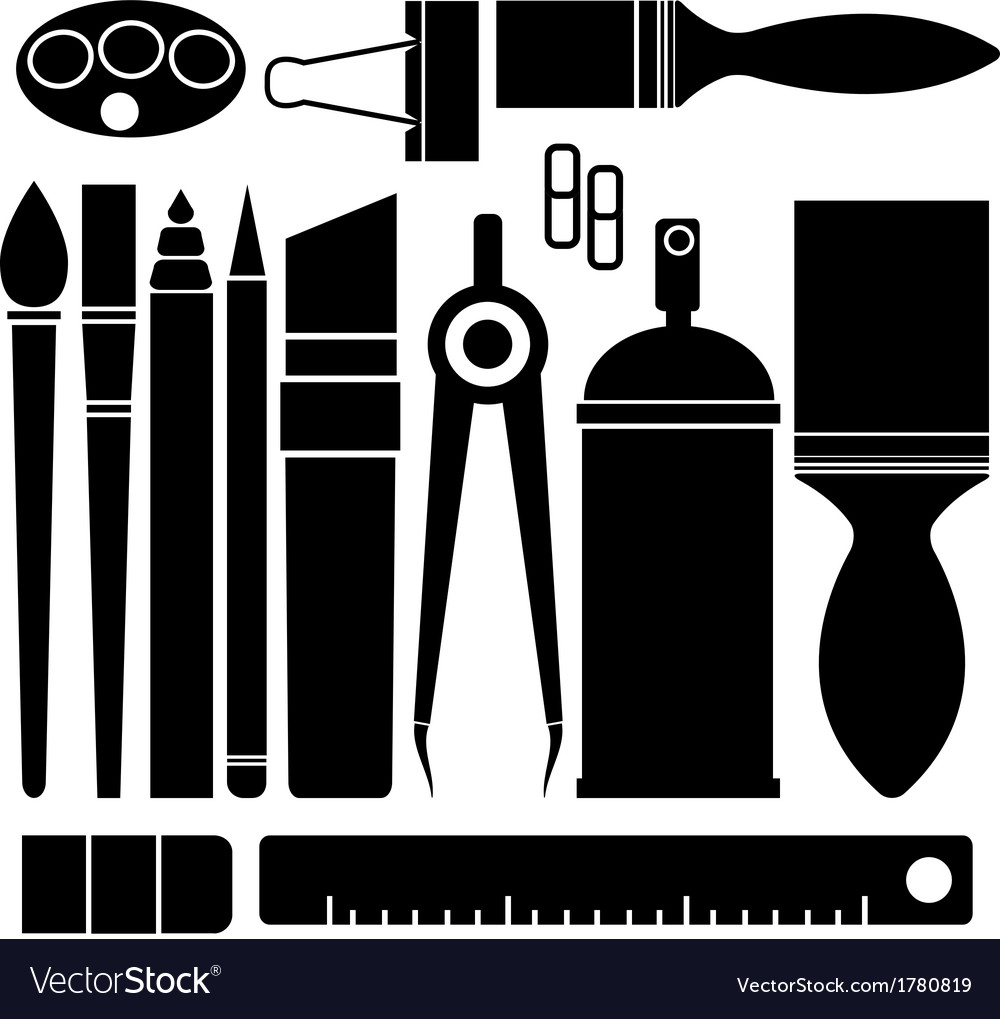 Set of stationary on white background vector