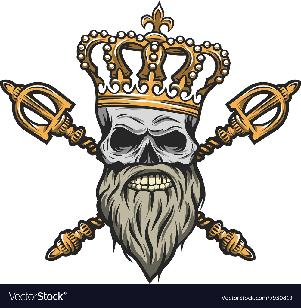 Skull crown and scepter color version vector