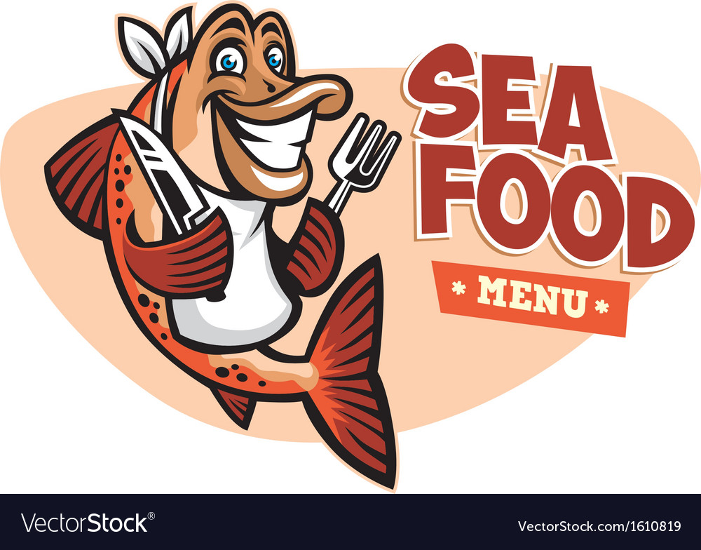 Smiling fish seafood restaurant mascot vector