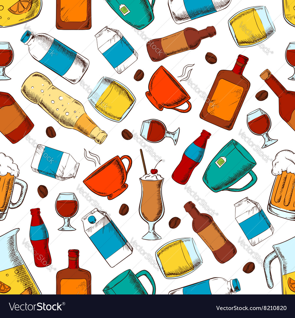 Alcohol and nonalcoholic drinks pattern vector