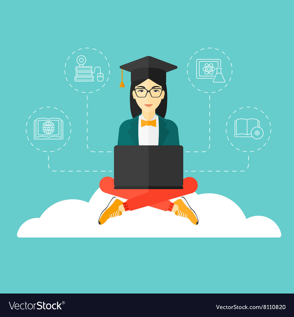 Graduate sitting on cloud vector
