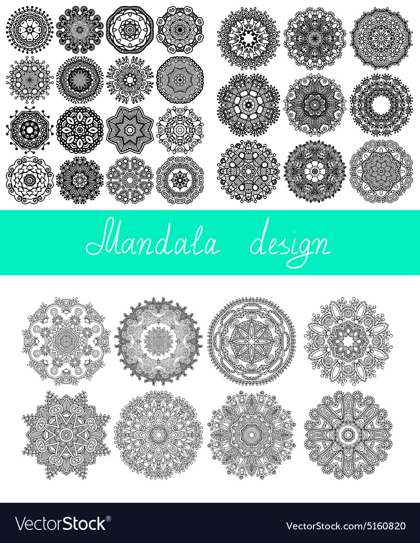 Set of 33 mandala design circle ornament vector