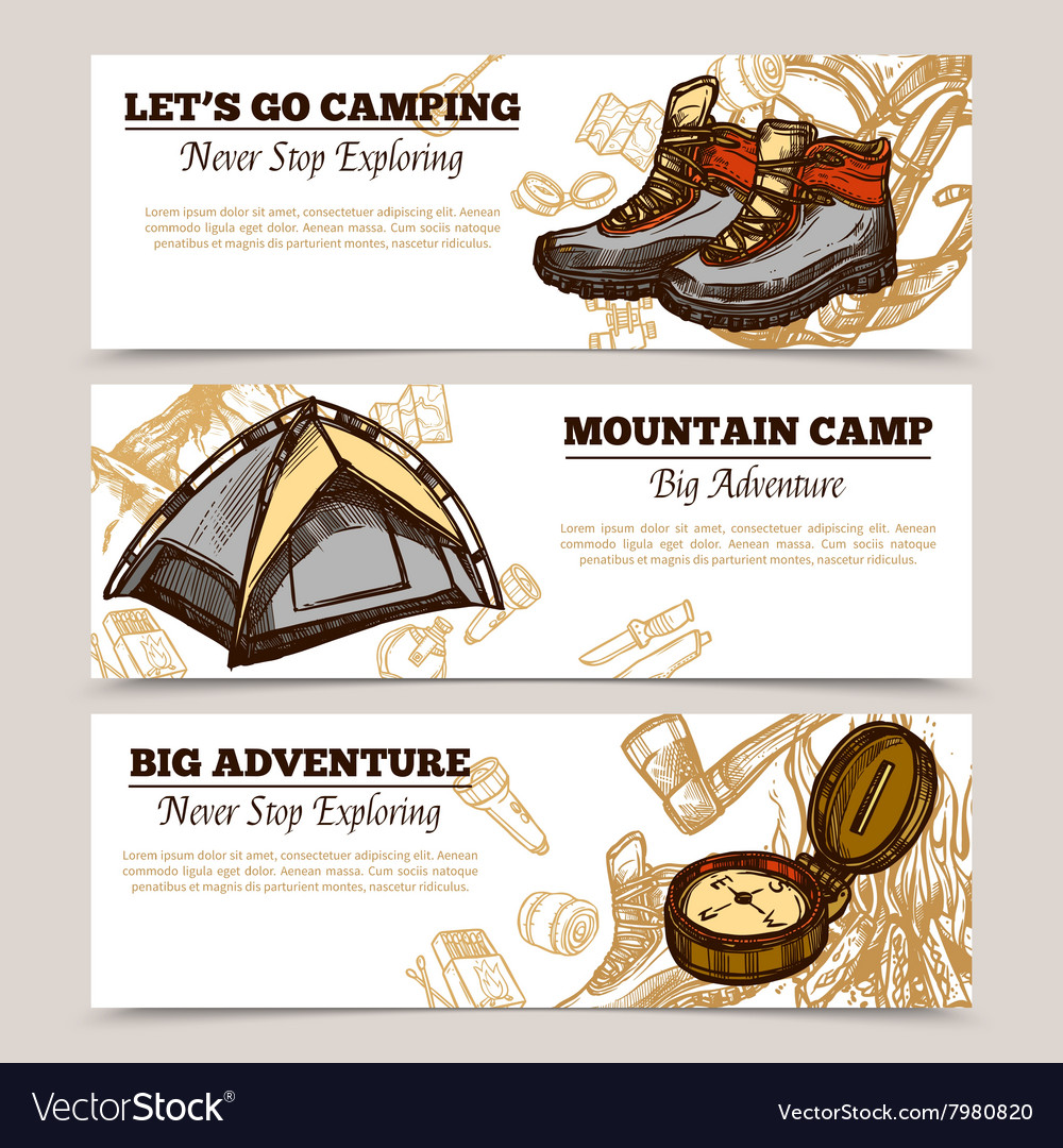 Tourism camping hiking banners vector