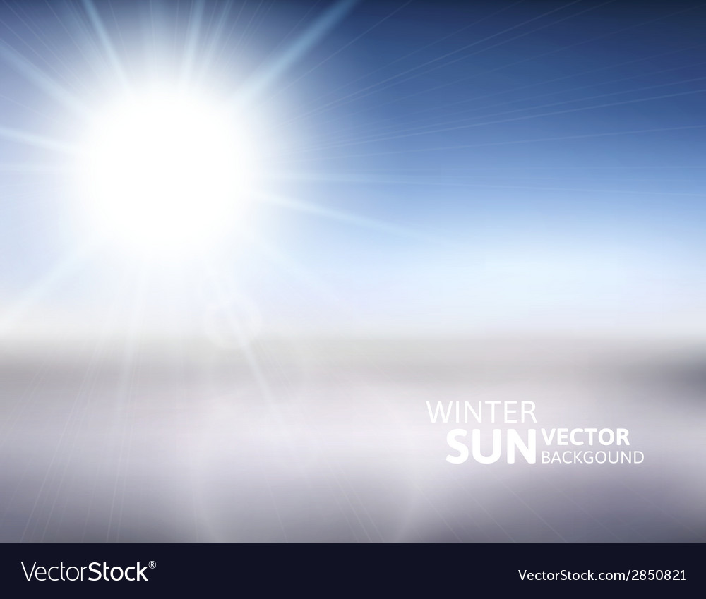Blurry mountain and blue sky with winter sun vector