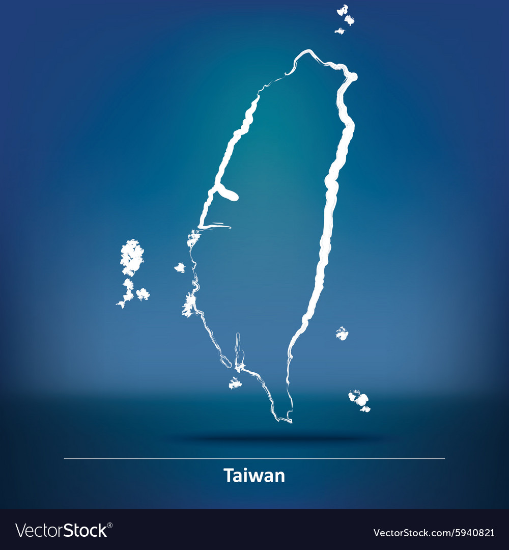 Doodle map of taiwan vector