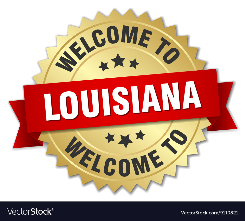 Louisiana 3d gold badge with red ribbon vector