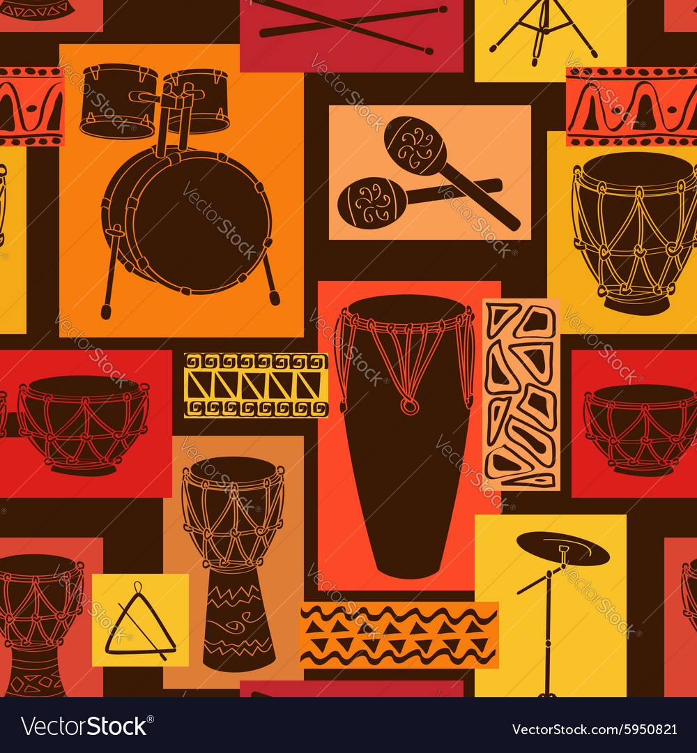 Musical seamless pattern of drum set vector