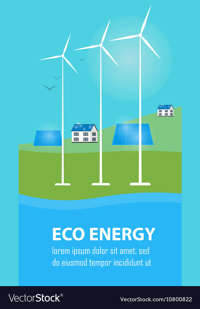 Eco energy banner sun and wind power generation vector