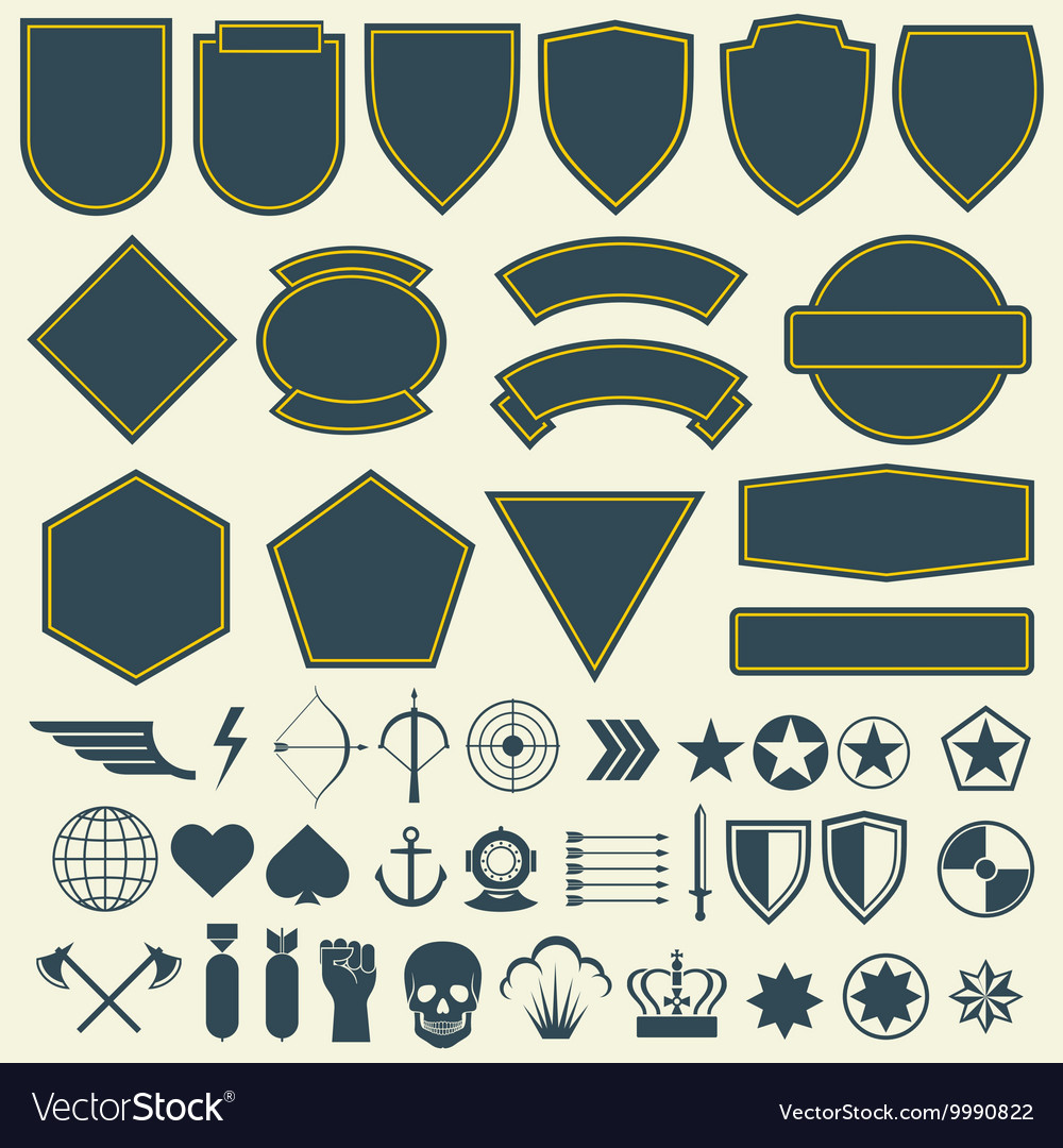 Elements for military army patches badges vector