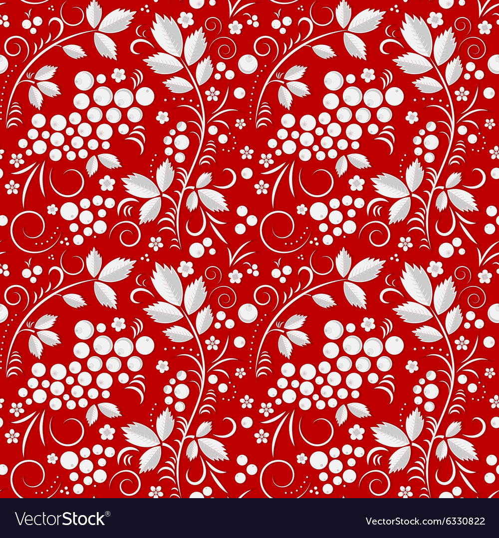 Khohloma seamless pattern on a red background vector