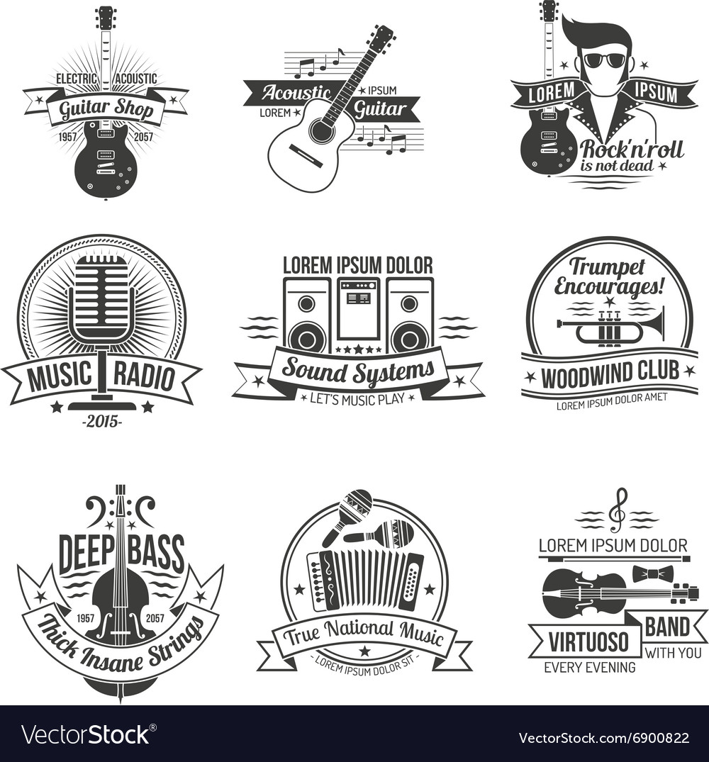 Music label set vector