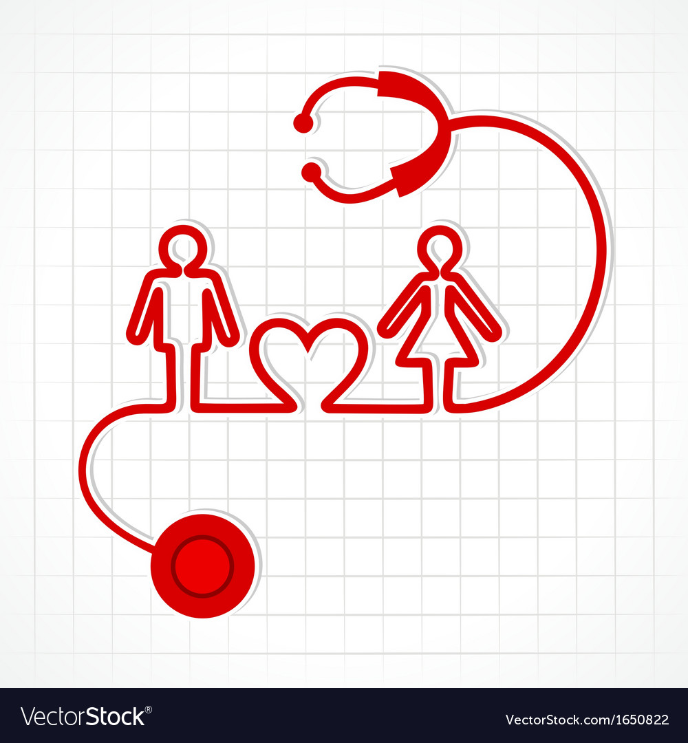 Stethoscope make malefemale and heart symbol vector