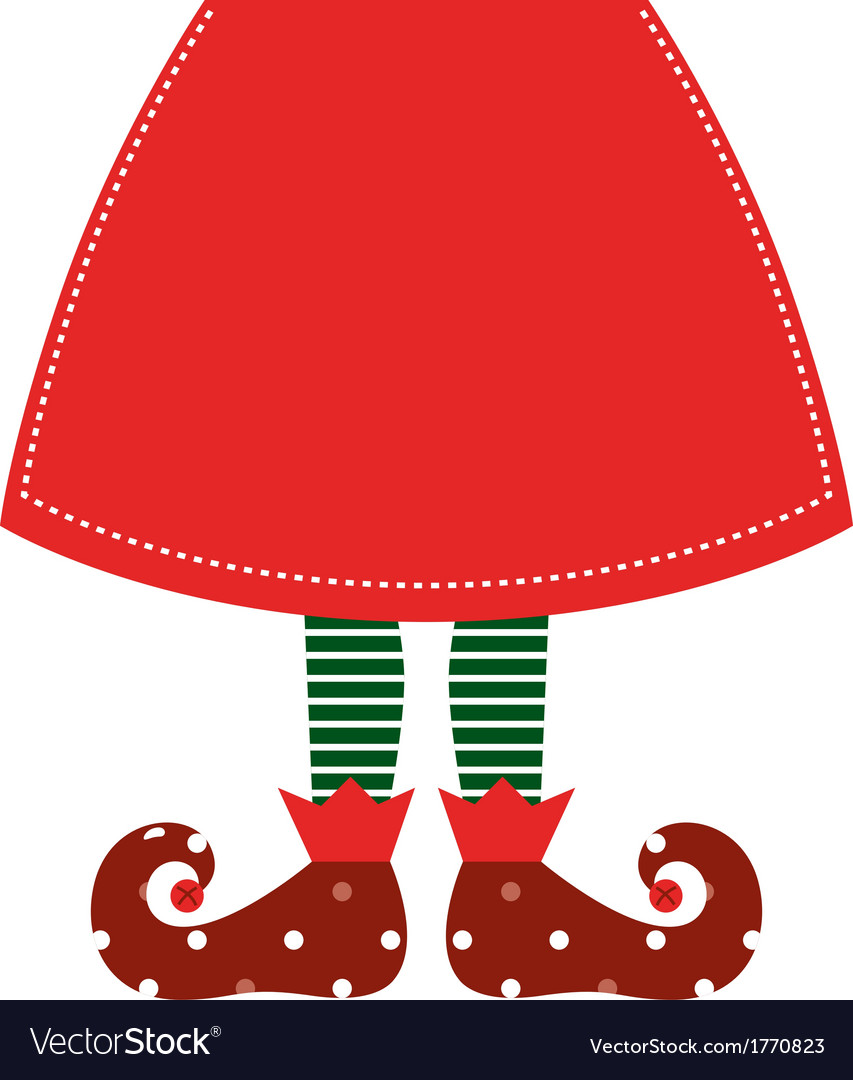Cute christmas elf legs with skirt  red vector