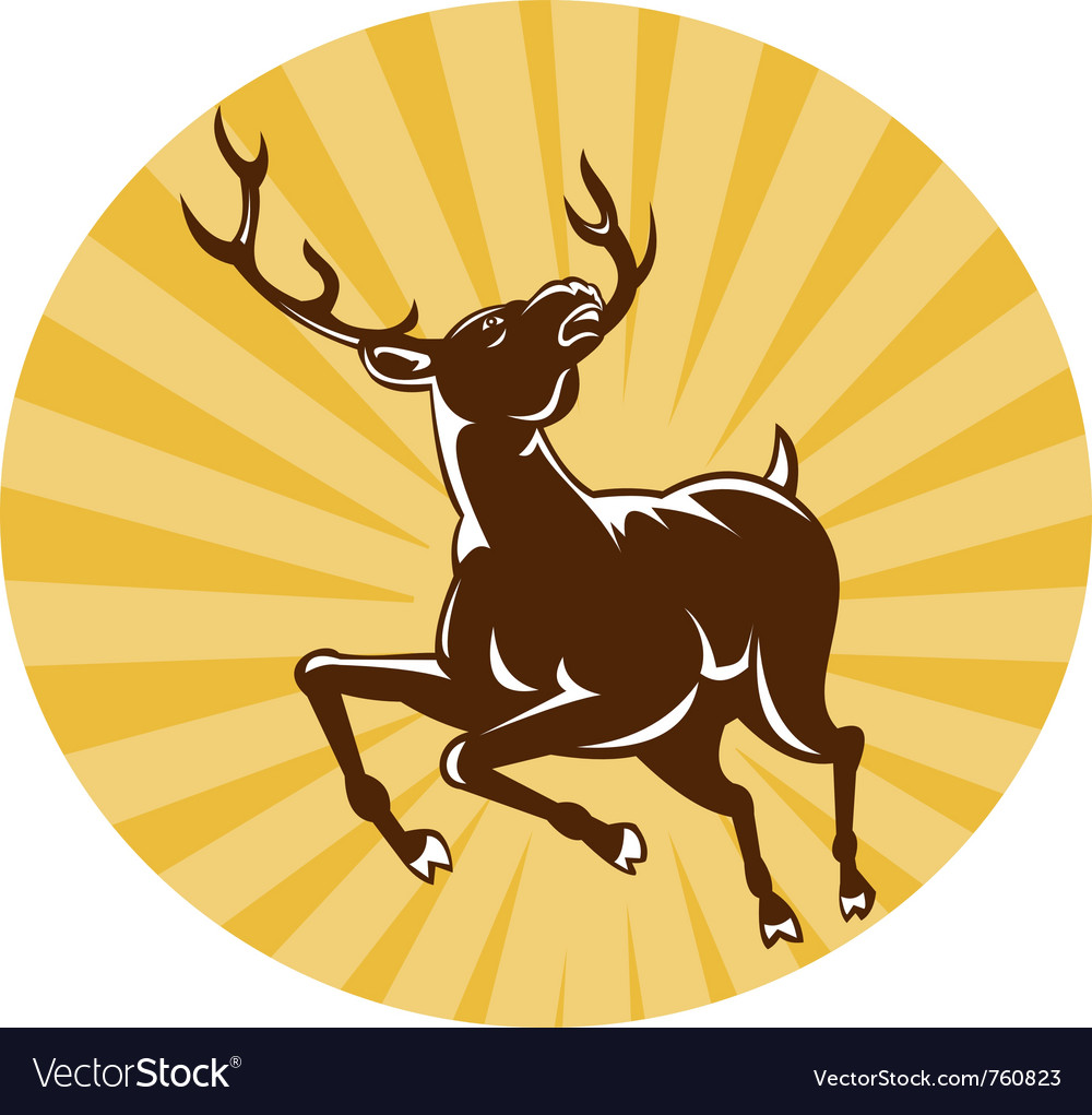 Deer buck stag jumping retro vector