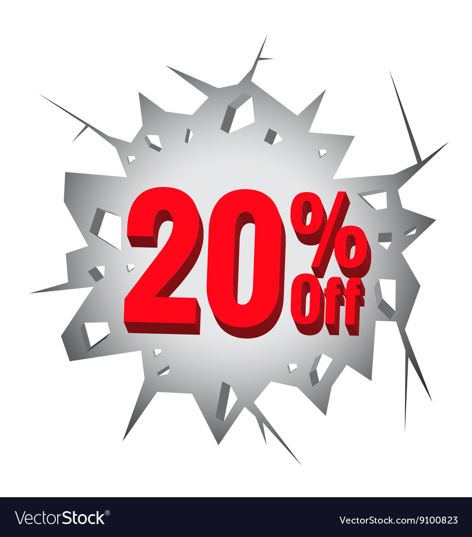Sale 20 percent on hole cracked white wall vector
