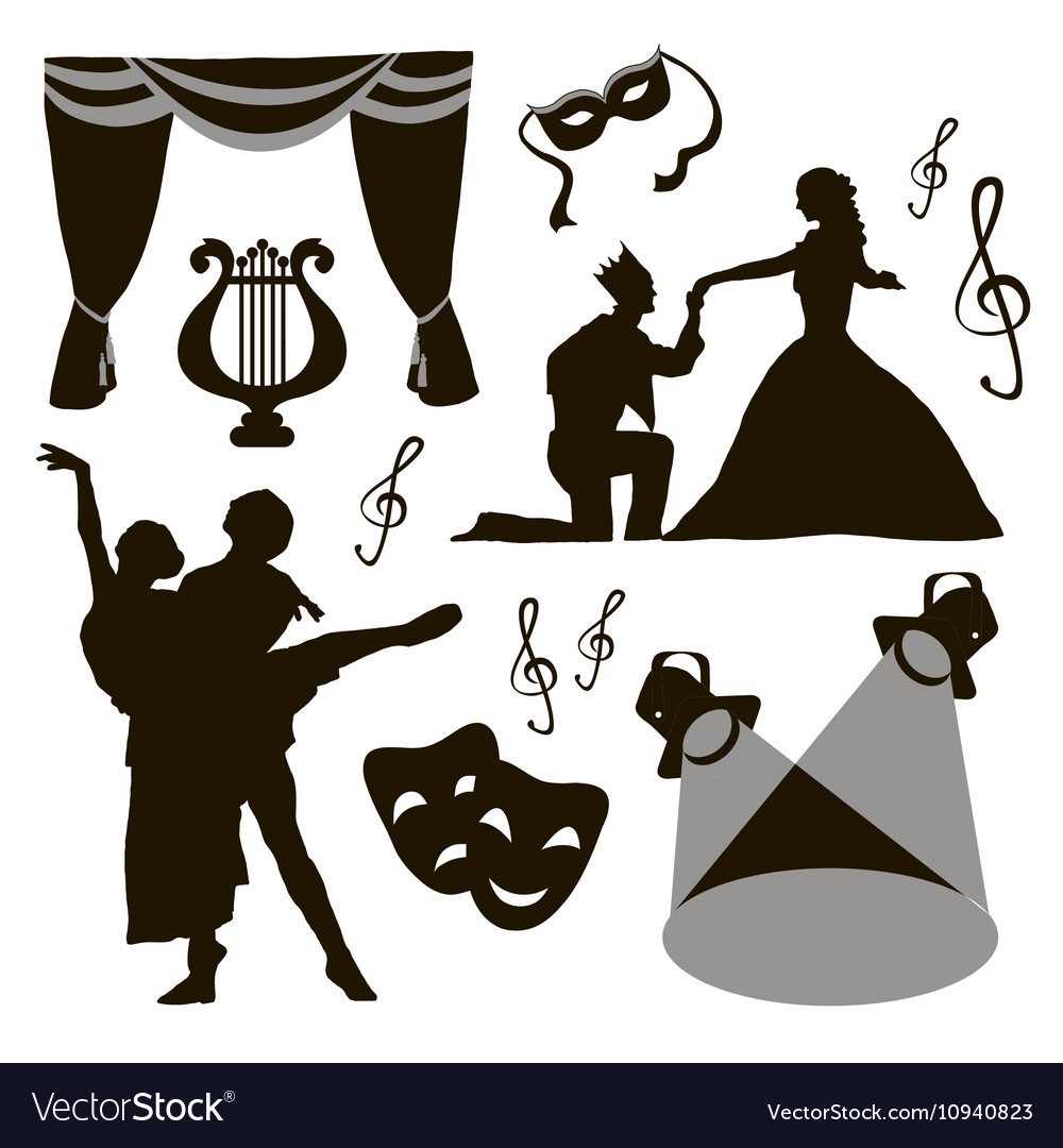 Set of theatre acting performance icons vector