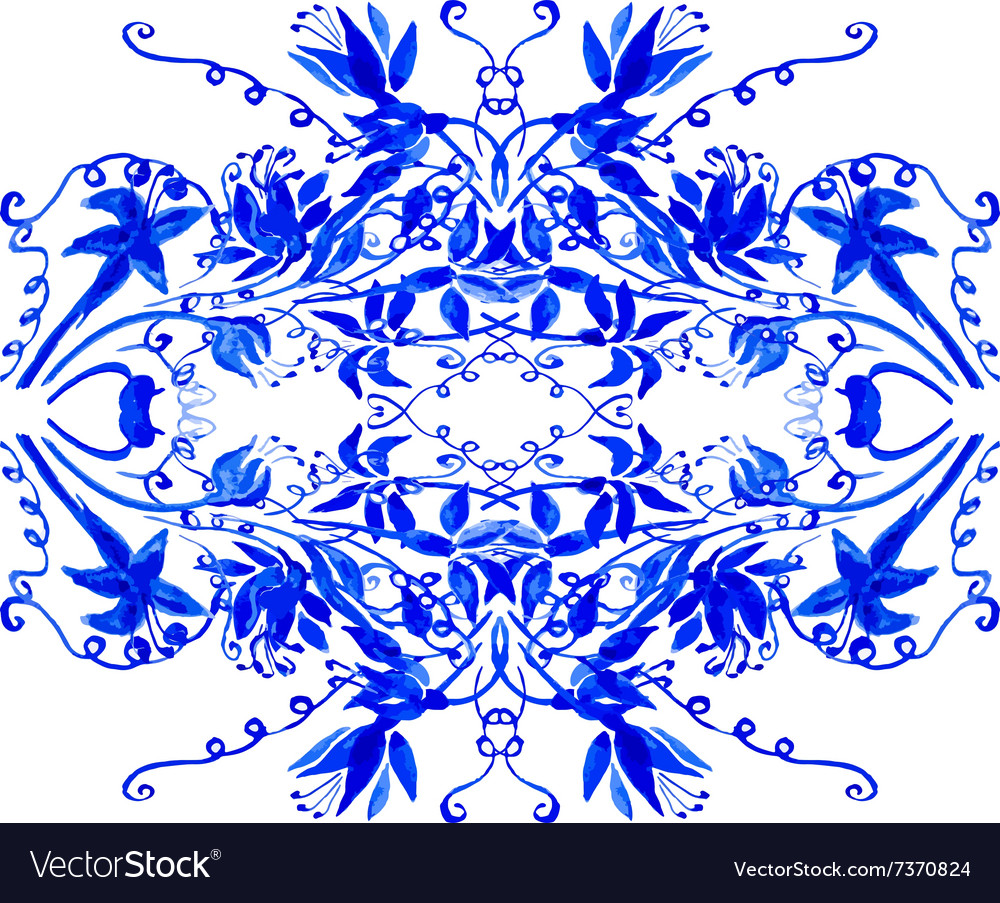 Watercolor blue leaves ornament vector