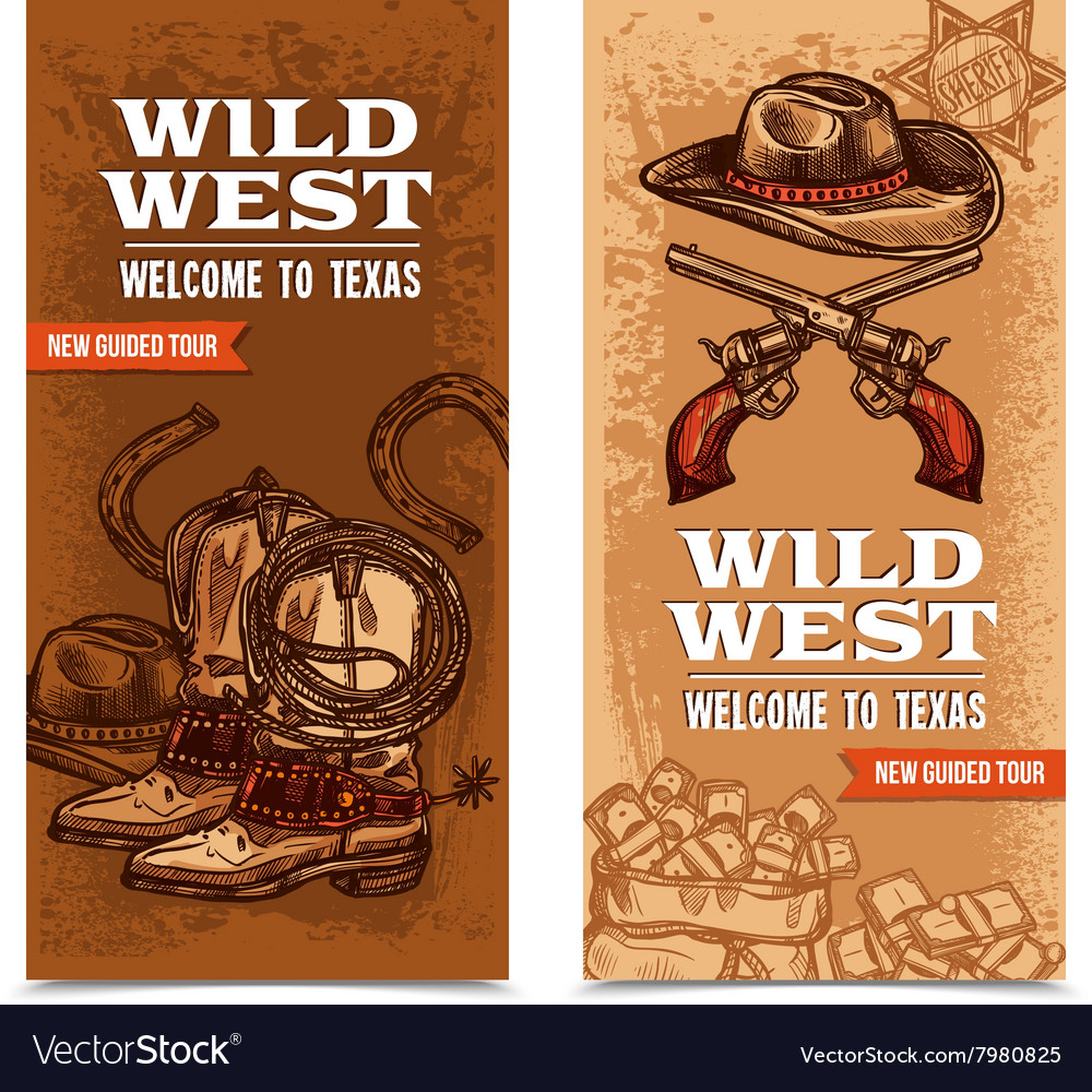 Cawboy wild west vertical banners vector