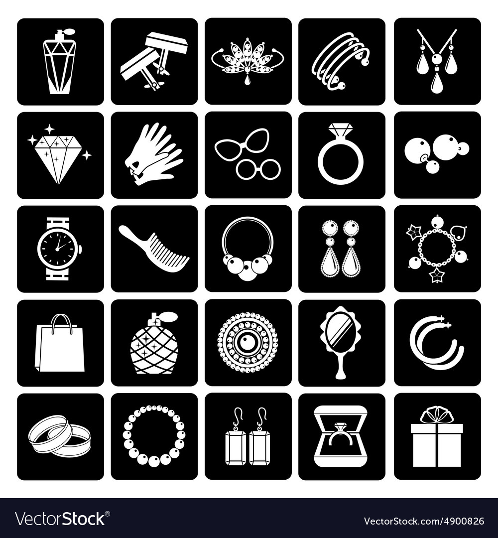 Jewelry and accessories icons vector