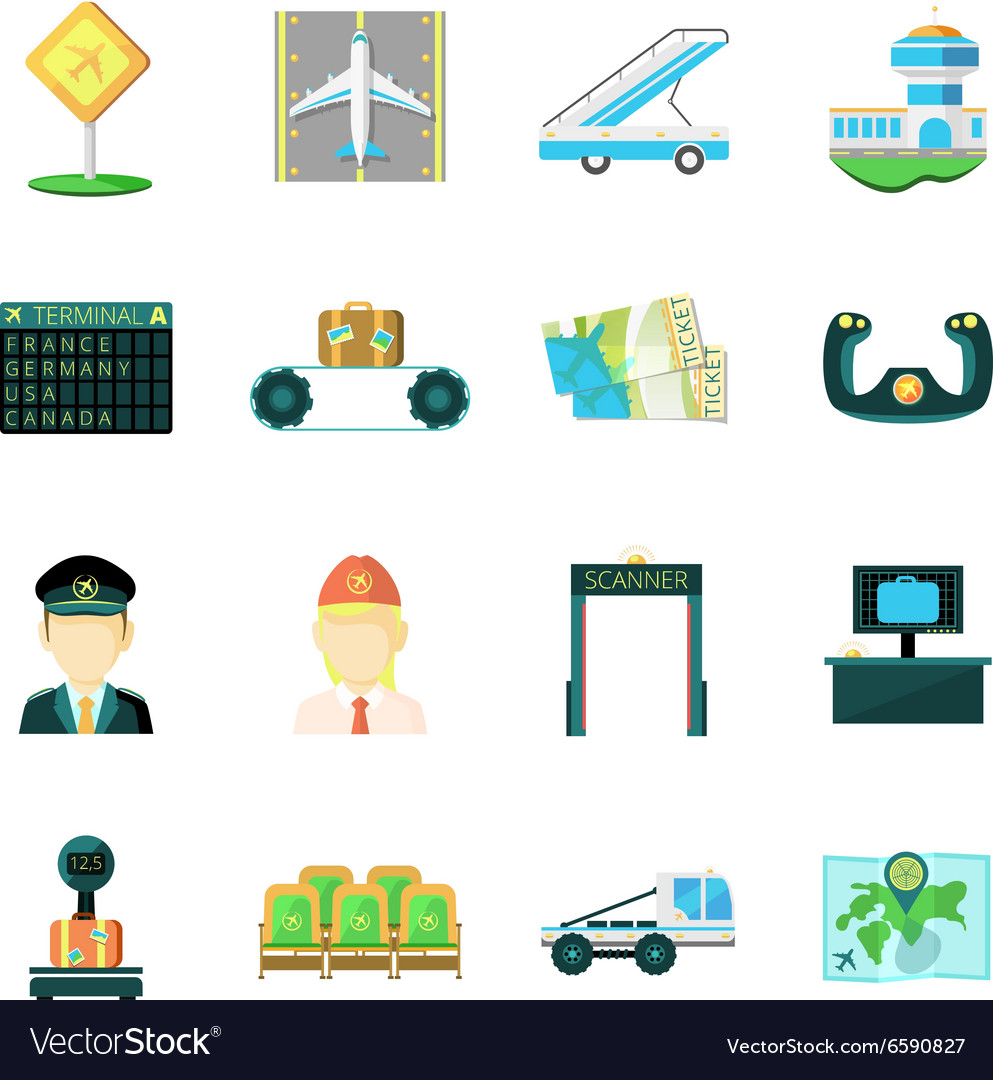 Airport flat icons set vector