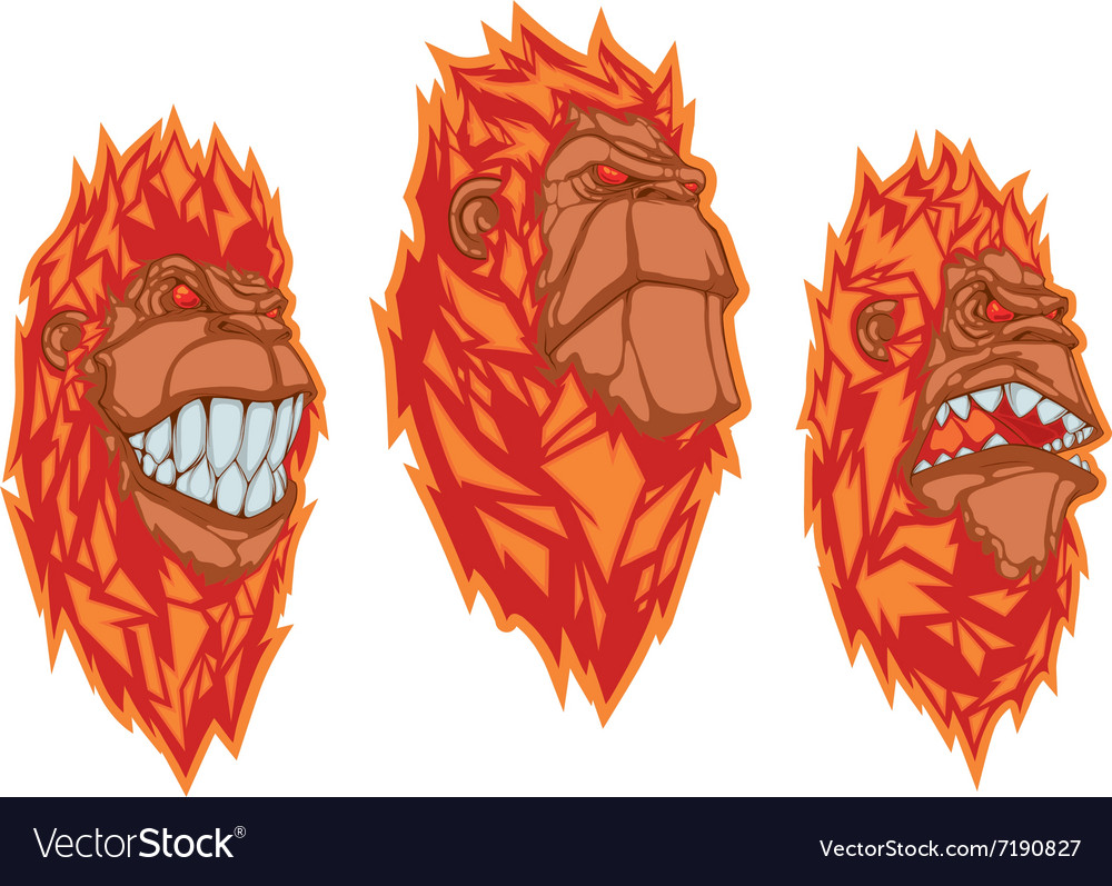 Burning monkey heads sticker concept vector