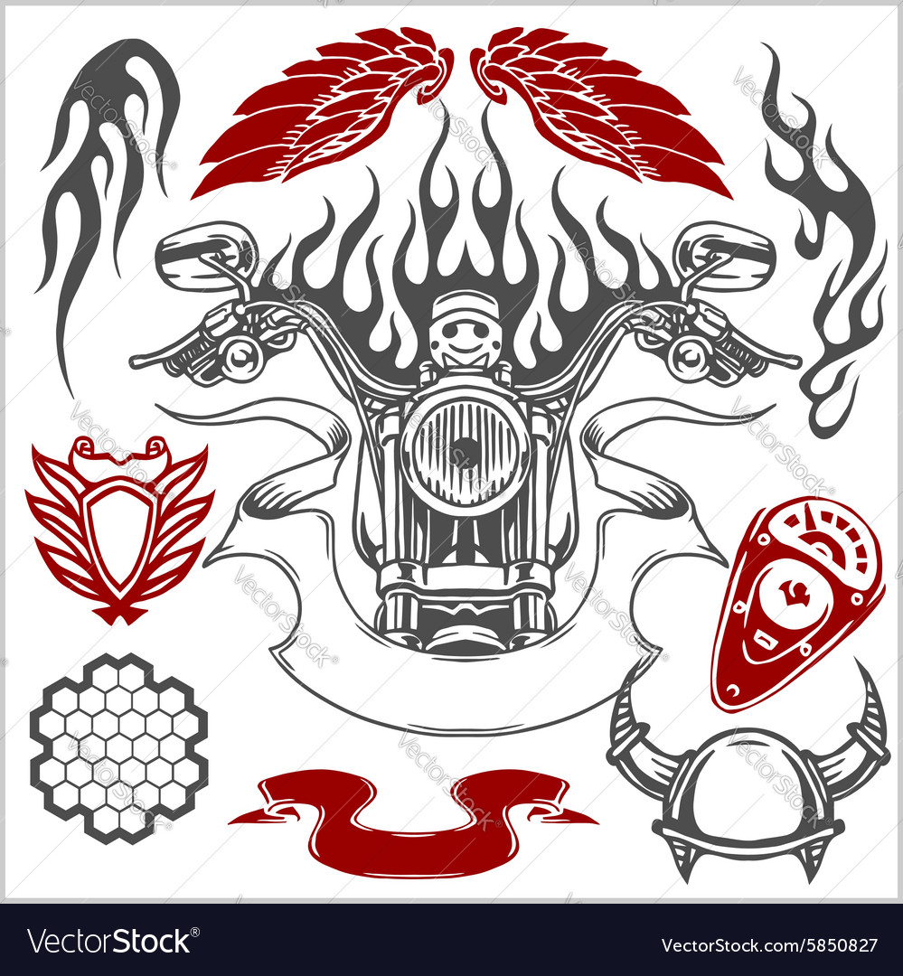Motorcycle elements set vector