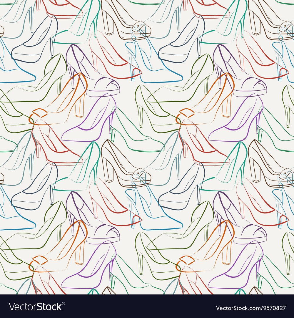 Seamless pattern of various women s shoes vector