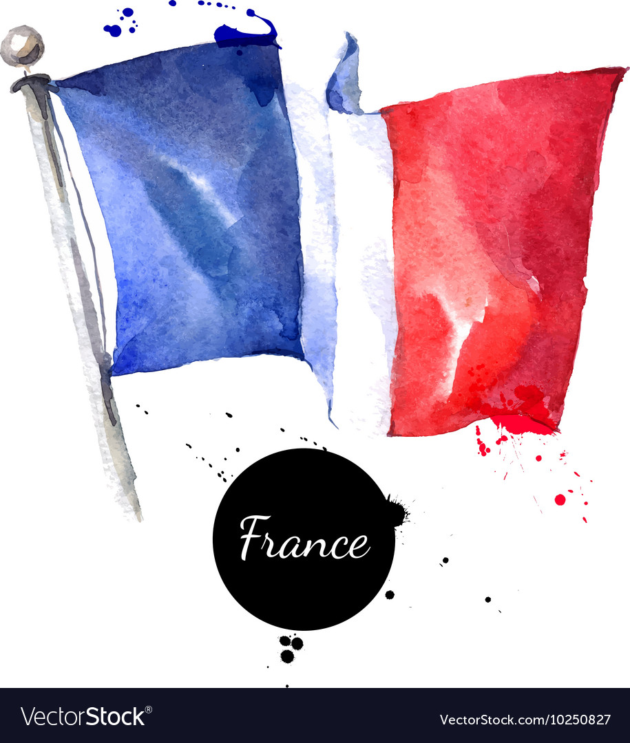 Watercolor france flag hand drawn on white vector