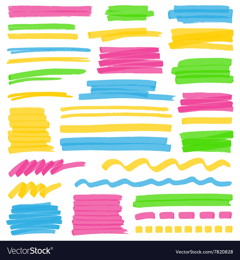 Highlighter color stripes strokes and marking vector