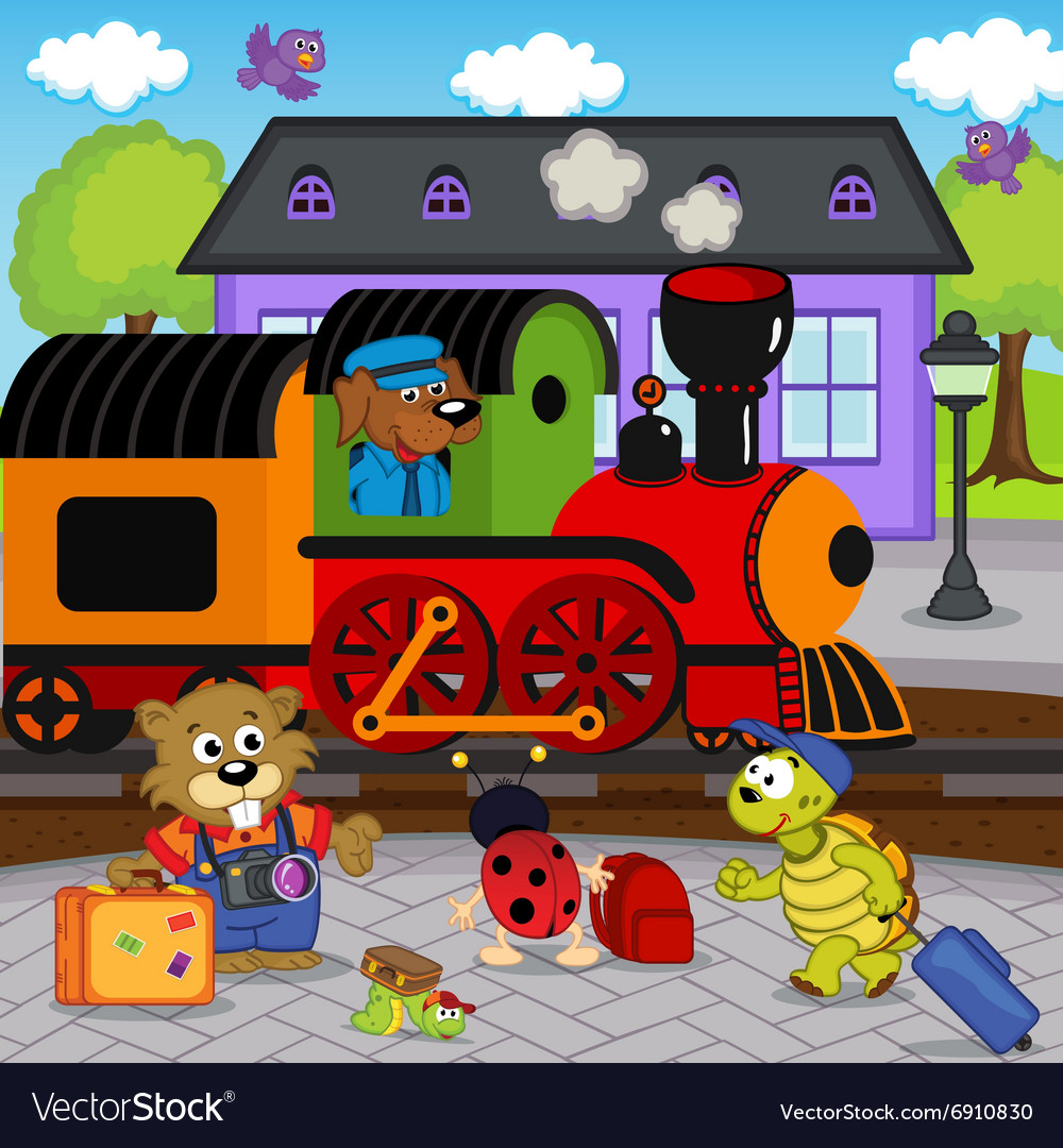 Animals at railway station vector