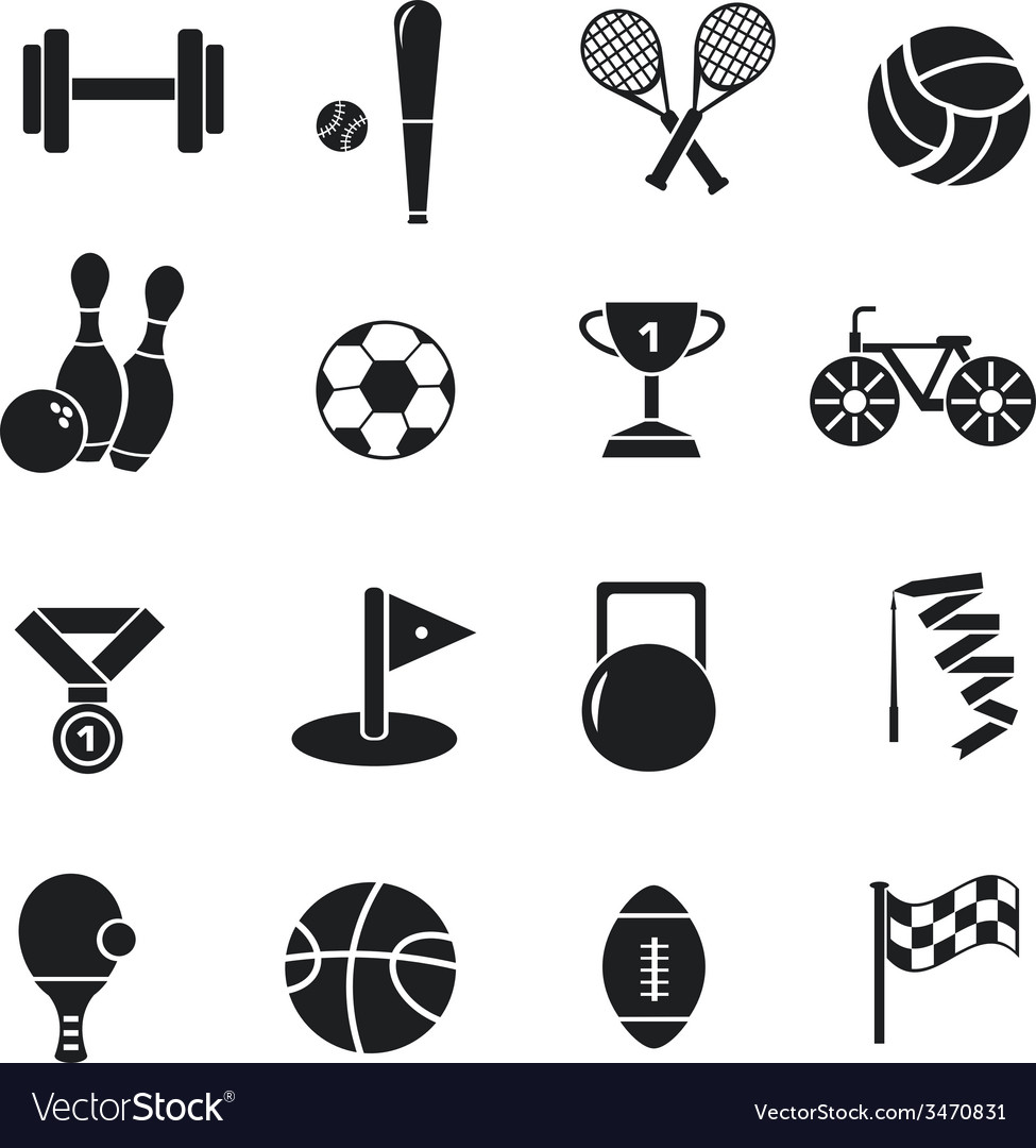 Circular concept of sports equipment sticker vector