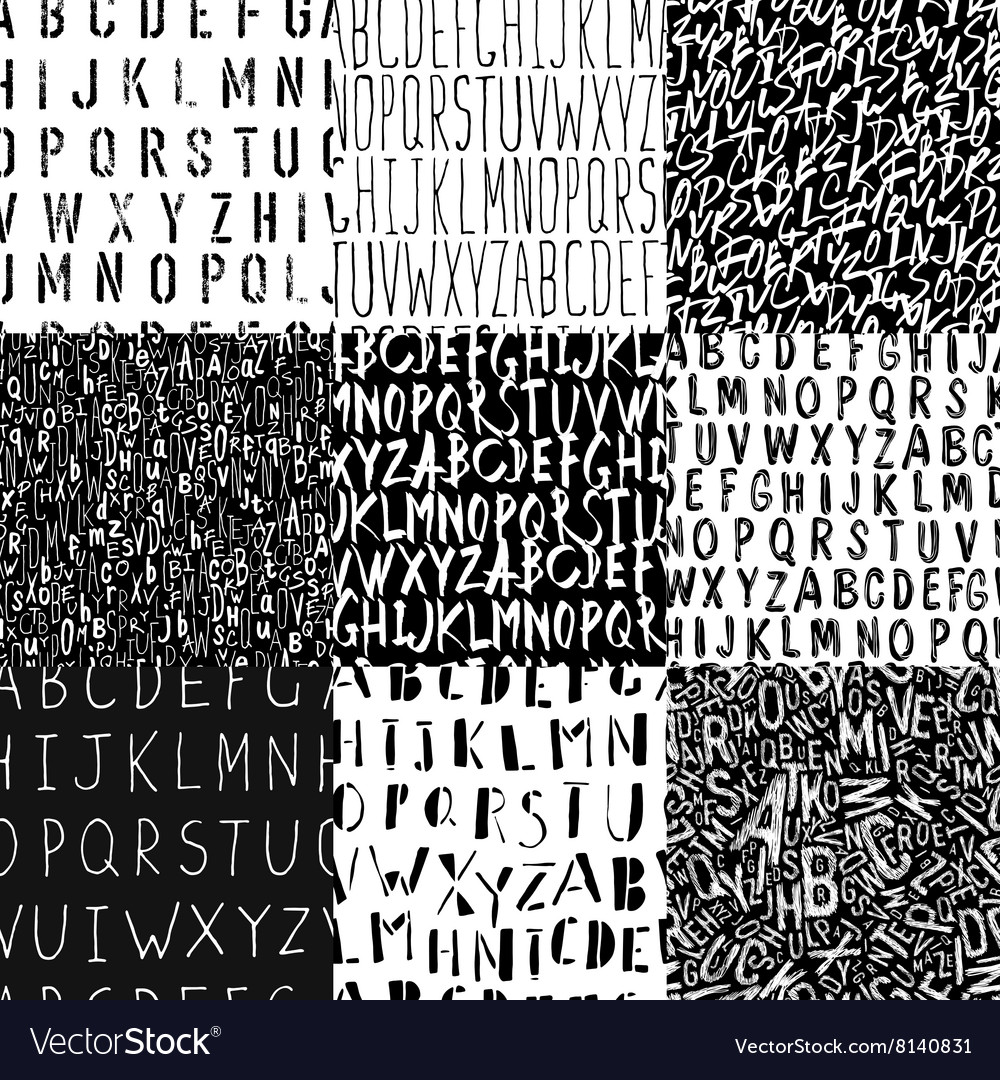 Different alphabets seamless patterns collection vector