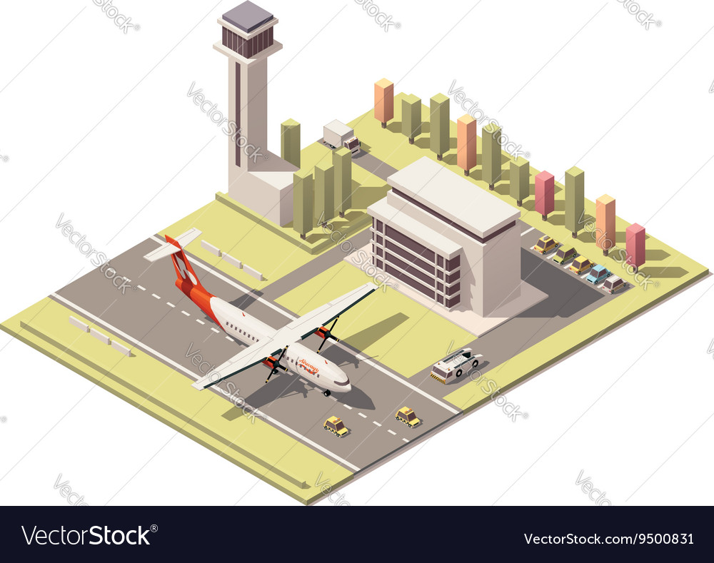 Isometric minimalistic low poly airport vector