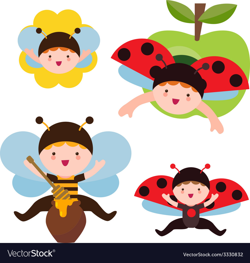 Cute ladybug and bee babies vector