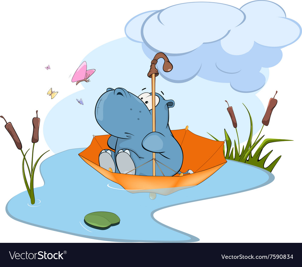 Adventure of a little hippo vector