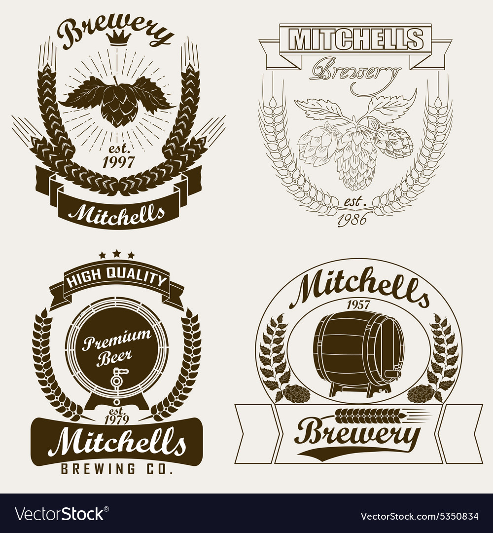 Beer logo brewery craft label vector