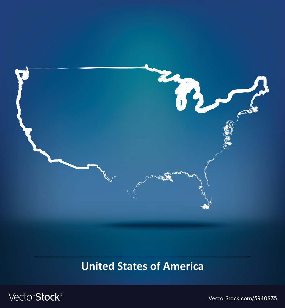 Doodle map of united states of america vector
