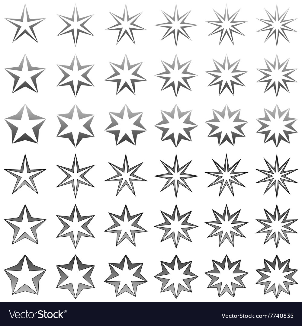 Grey star shape set vector