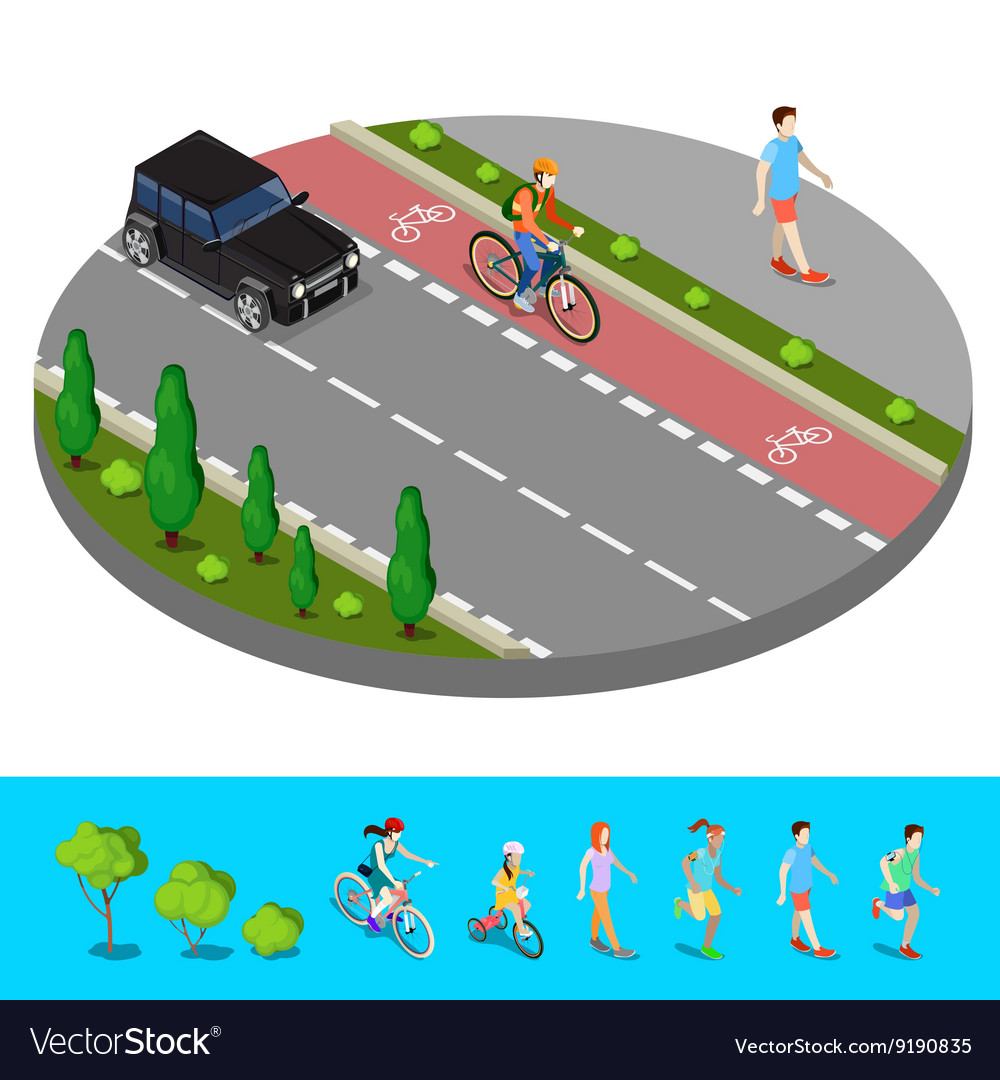 Isometric city bike path with bicyclist footpath vector