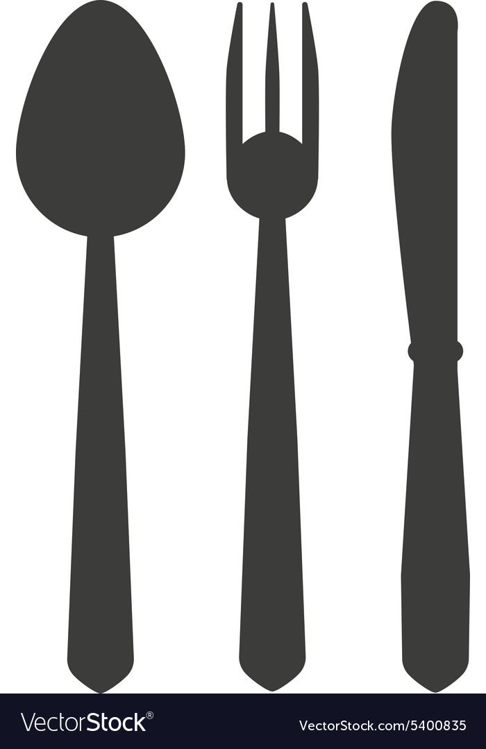 Spoon and fork and knife icon vector