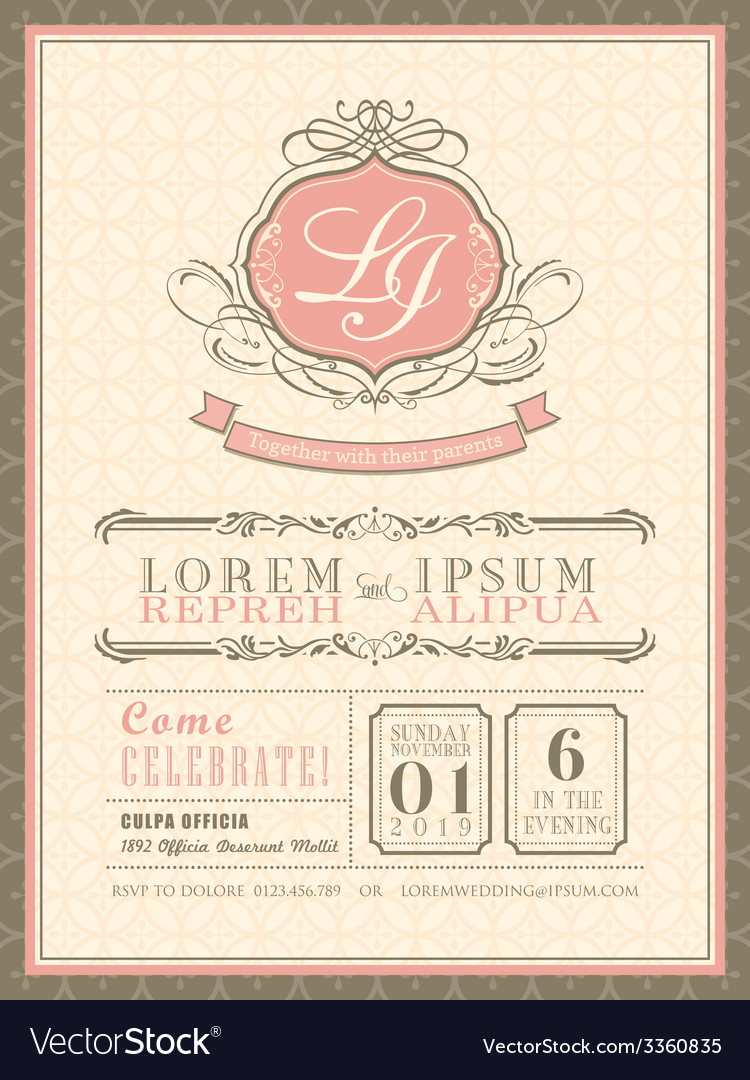 Vintage pastel wedding invitation border and frame vector