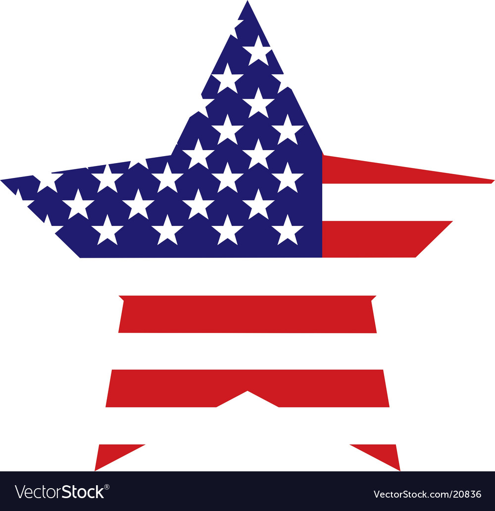 American flag star background vector