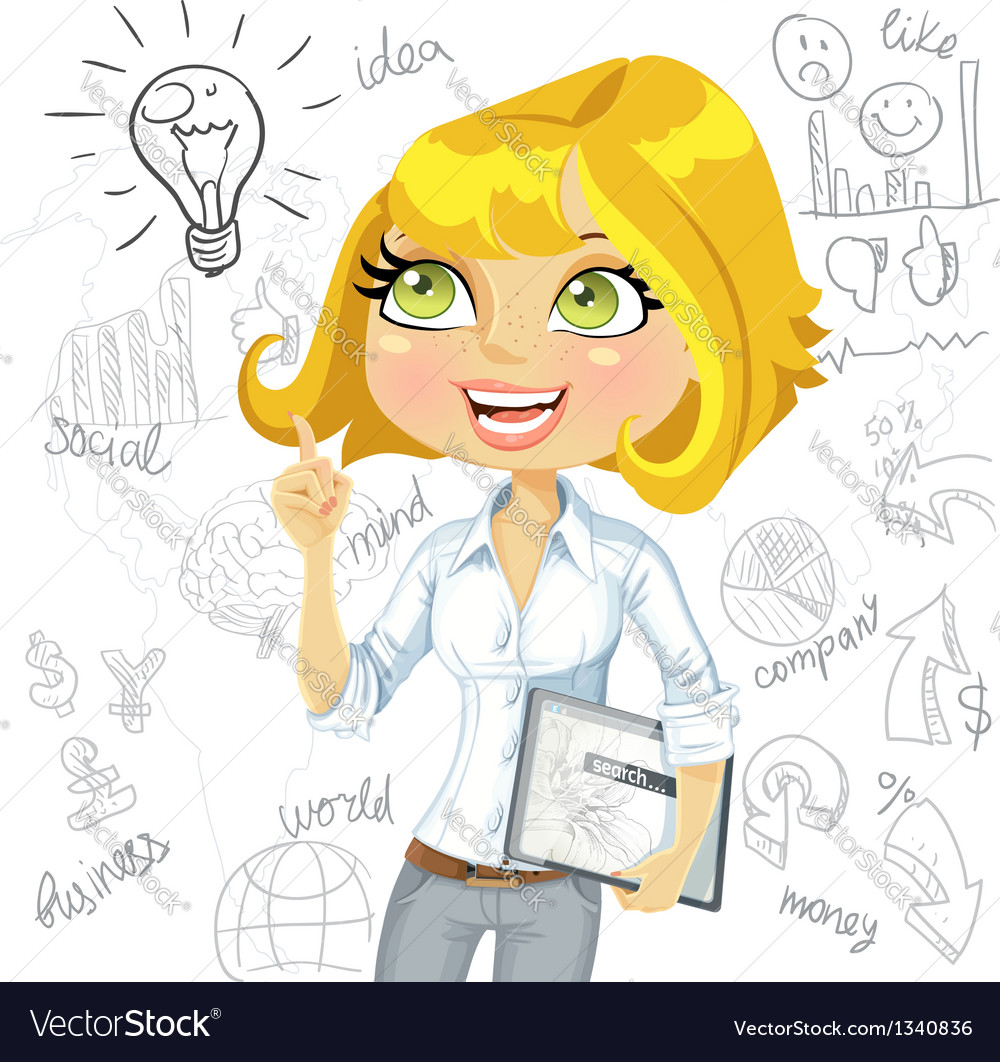 Cute girl with electronic tablet inspiration idea vector