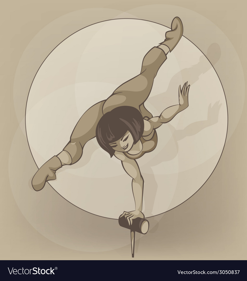 Pinup circus artist silhouette inkpen balancing vector