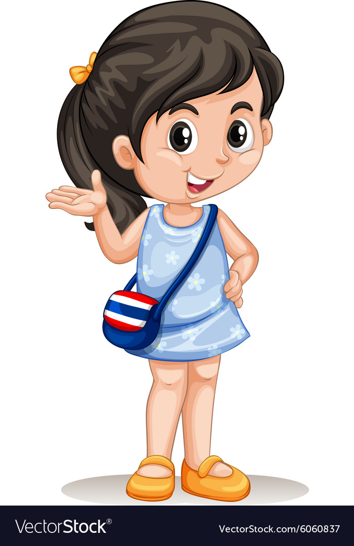 Thai girl greeting and smiling vector