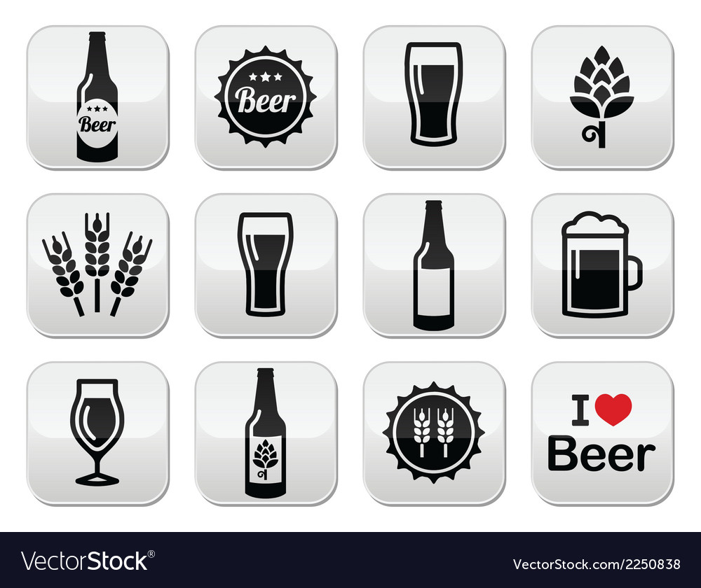 Beer icons set  bottle glass pint vector